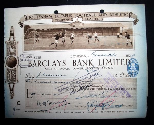 tottenham-hotspur-pictorial-cheque-1929-front