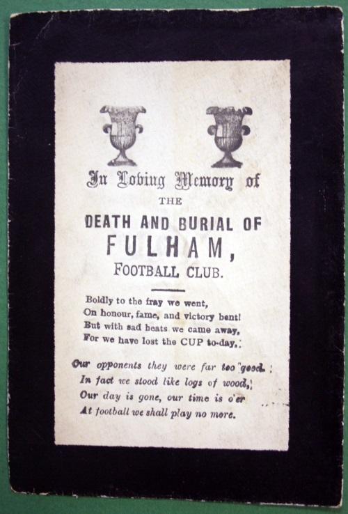 Fulham FC Memorial Postcard