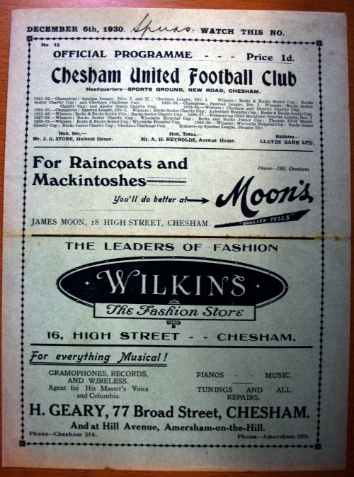 Chesham United v Tottenham Hotspur December 1930 Football Programme