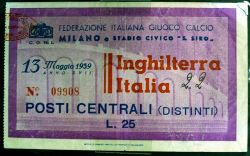 Italy v England Ticket - May 1939