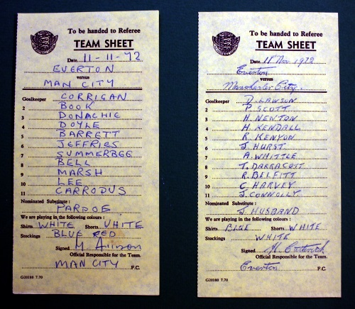 Everton v Manchester City Signed Team Sheets - 11th November 1972