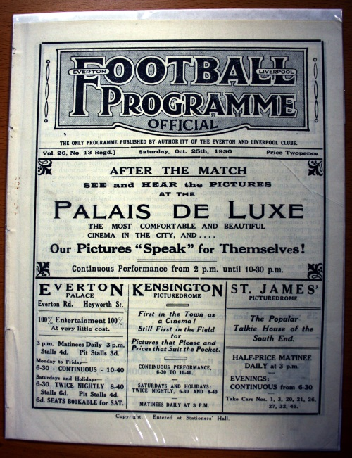 Everton v Tottenham Hotspur October 1930 Football Programme