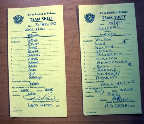 Leeds United v Arsenal March 1972 Signed Team Sheets
