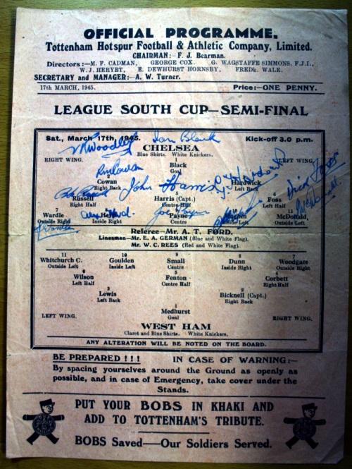1945 Chelsea v West Ham Signed Programme