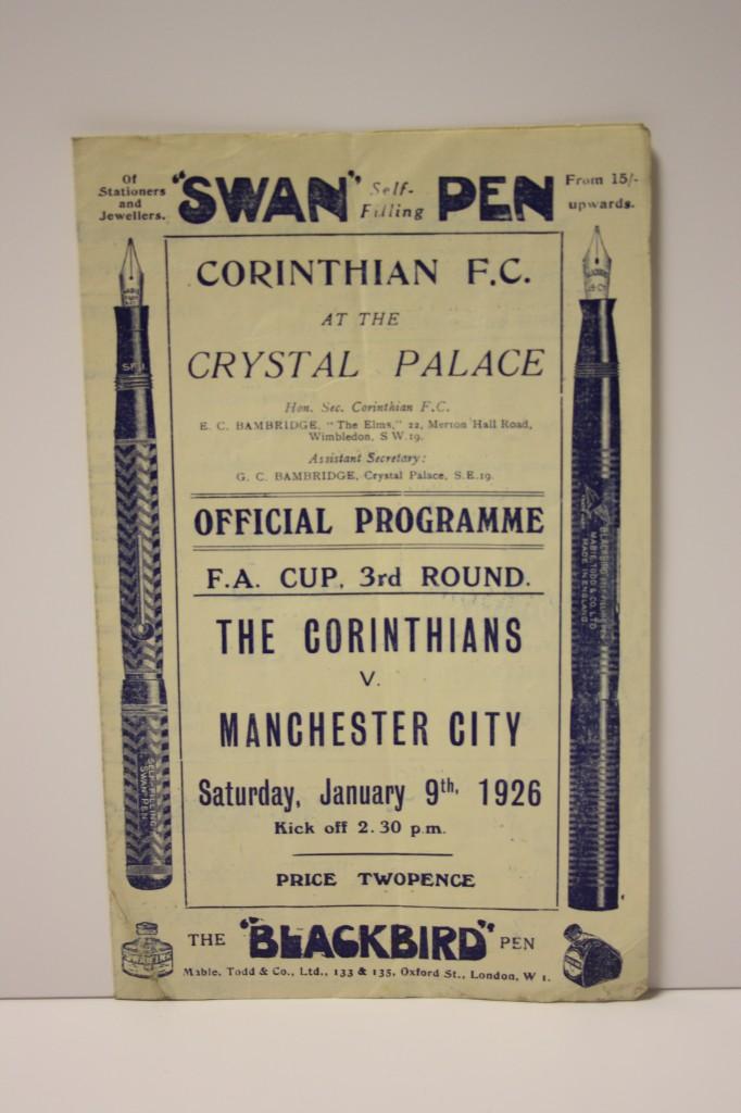 Corinthians FC v Manchester City 1926 FA Cup Programme