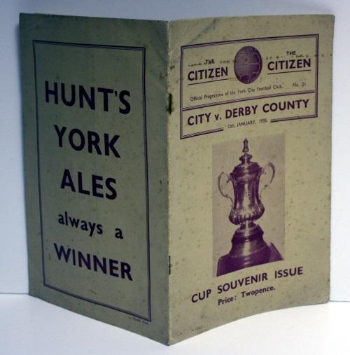 York City v Derby County January 1935 Programme