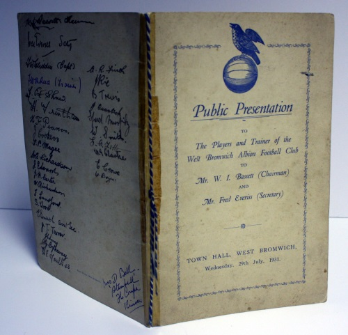 1931 Signed West Bromwich Albion Menu and Event Programme 1931
