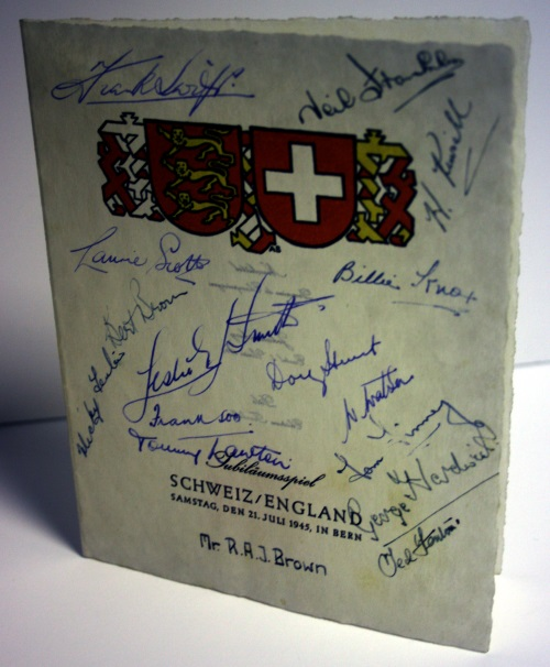 Switzerland v England 1945 Signed Menu