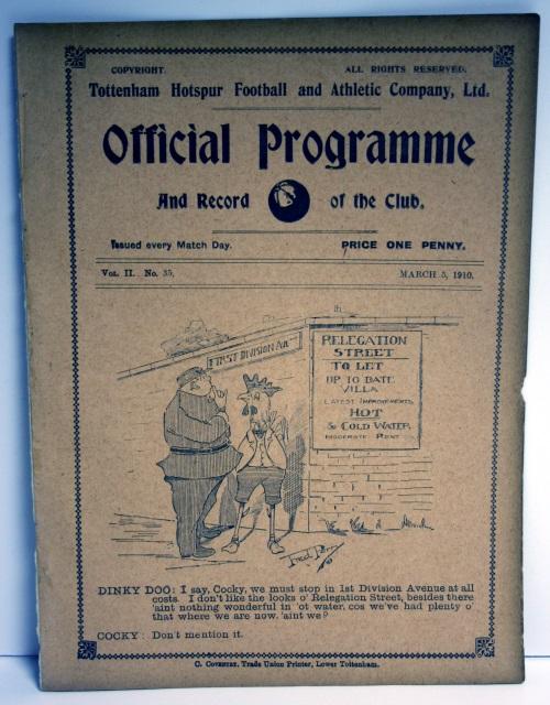 Tottenham Hotspur v Preston North End March 1910 Programme