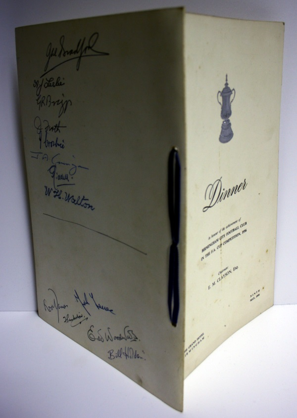 Birmingham City FA Cup Final 1956 Signed Menu