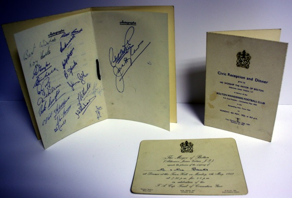 Signed Bolton Wanderers FA Cup Final Dinner Menu
