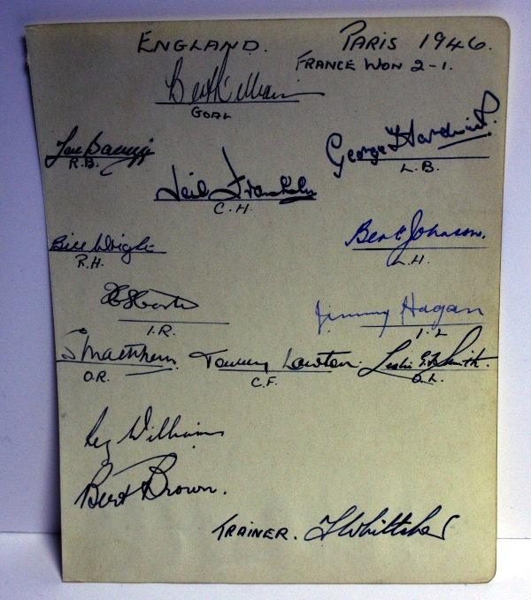England 1946 Team Signatures v France