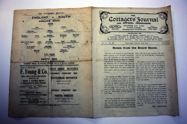 England v The South 1922 Trial Match Programme