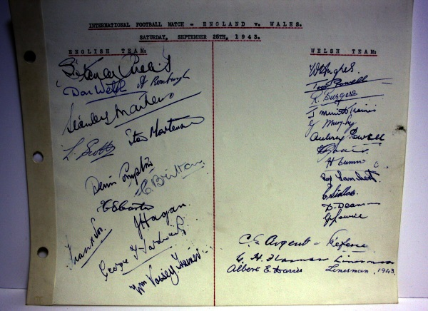 England v Wales September 1943 Autograph Page