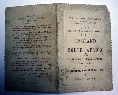 FA England v South Africa 1924 Player Itinerary