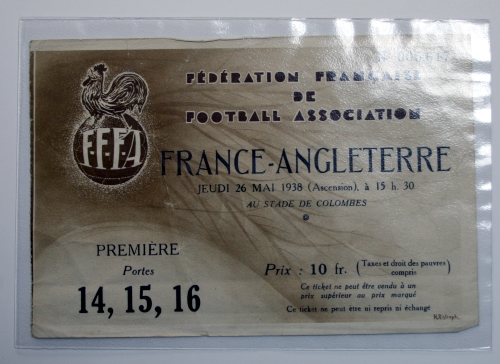 France v England May 1938 International Ticket