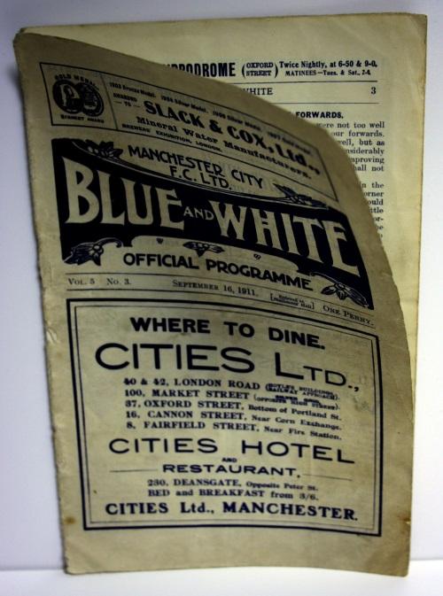 Manchester City v Aston Villa September 1911 Programme