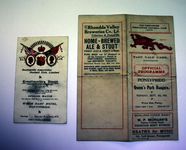 Pontypridd AFC v Queens Park Rangers 1911 Programme & Complimentary Dinner Schedule