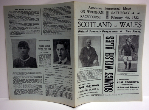 Scotland v Wales 1922 Official Programme