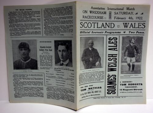 Scotland v Wales 1922 Official Programme