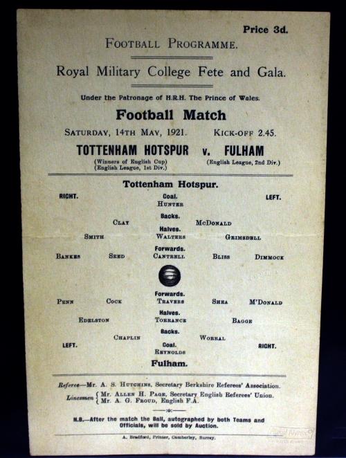 Tottenham Hotspur v Fulham 1921 Charity Match Programme