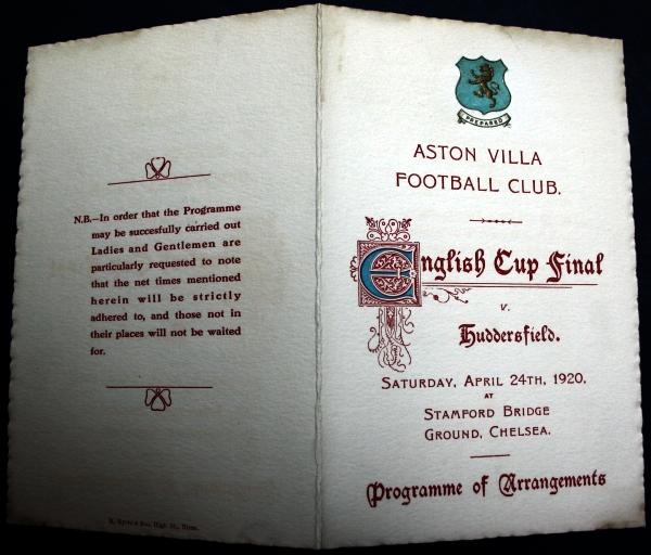 Aston Villa v Huddersfield Programme of Arrangements