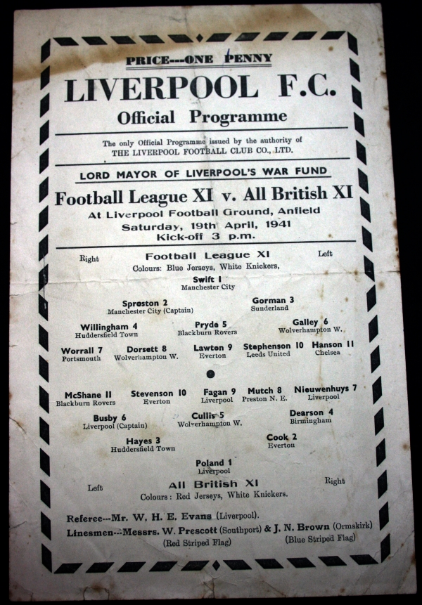 Football League XI v All British XI 1941 Programme