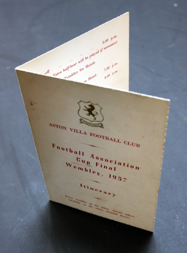 Original 1957 FA Cup Final Itinerary
