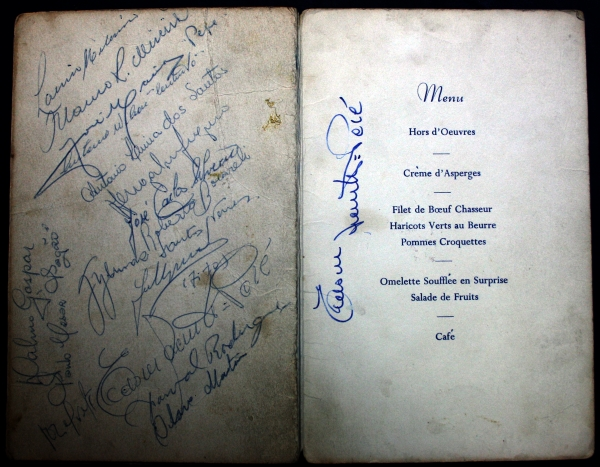 1962 Sheffield Wednesday vs Santos Signed Dinner Menu (incl Pele)