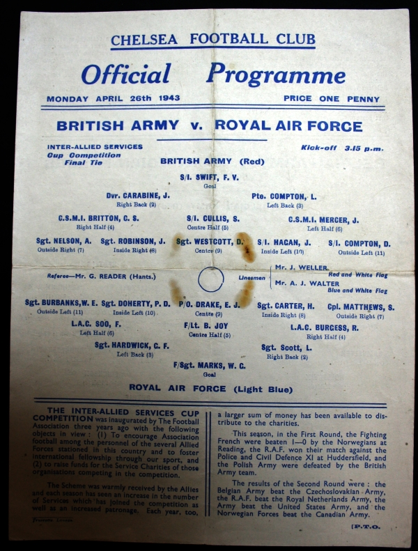 British Army v RAF 1943 Inter-Allied Forces Cup Programme