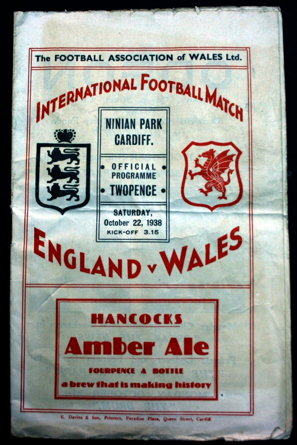 England v Wales 1938 Official Programme