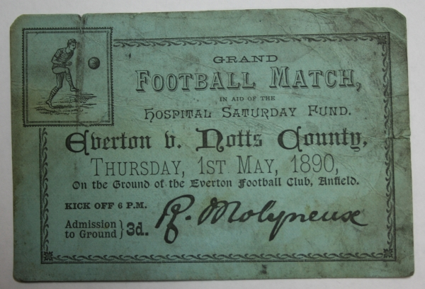 1890 Everton v Notts County Ticket