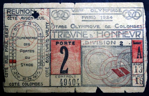 1924 Olympic Final Ticket
