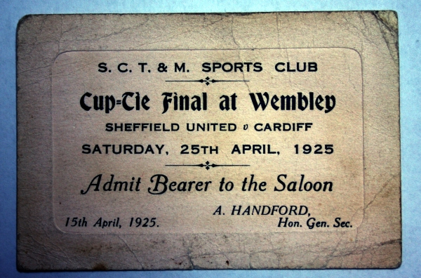 1925 Sheffield United v Cardiff Cup Final Ticket