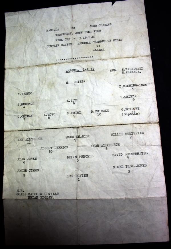 1968 John Charles XI v Mangula Teamsheet