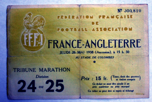 France v England May 1938 Ticket