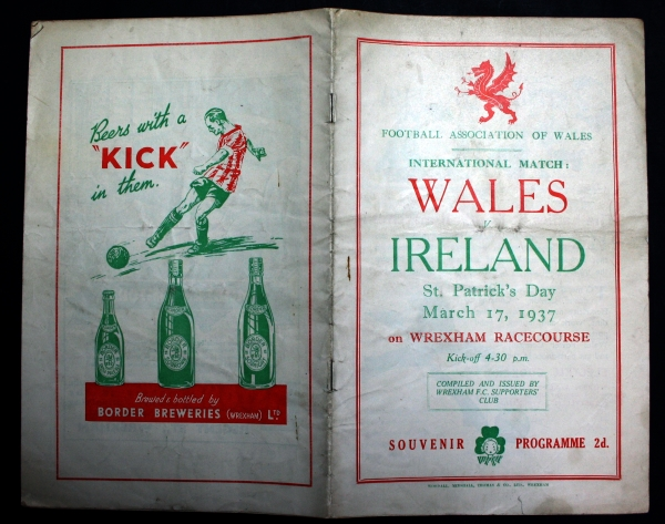 Wales v Ireland - March 1937 Official Programme