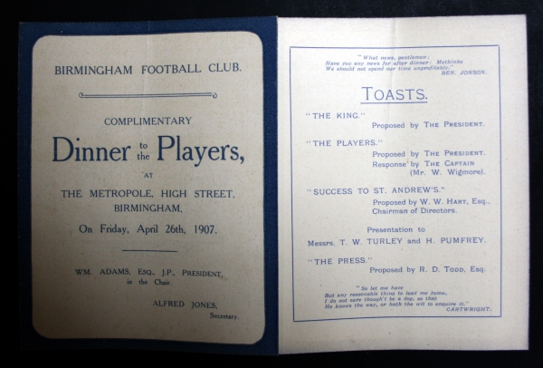 Birmingham FC 1907 Players Dinner Menu