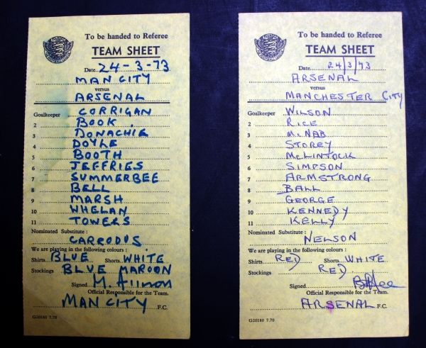 Manchester City v Arsenal March 1973 Signed Teamsheets