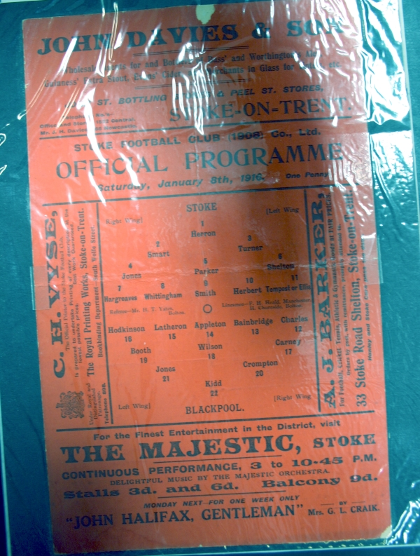 Stoke v Blackpool January 1916 Football Programme