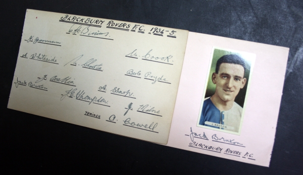 Blackburn Rovers March 1935 Autograph Card