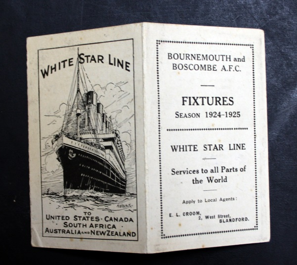 Bournemouth and Boscombe AFC Fixture List 1924/5