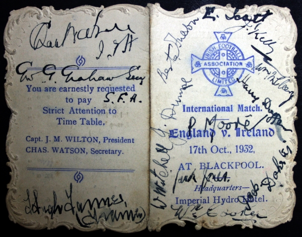 England v Ireland October 1932 Signed Itinerary