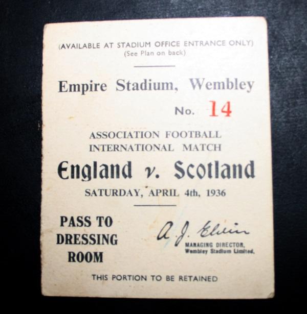 Scotland v England 1936 Player Pass