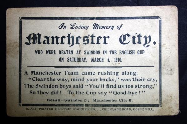 Swindon v Manchester City In Memorium Postcard 1910