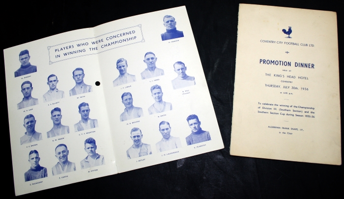 Coventry City 1936 Promotion Dinner Booklet