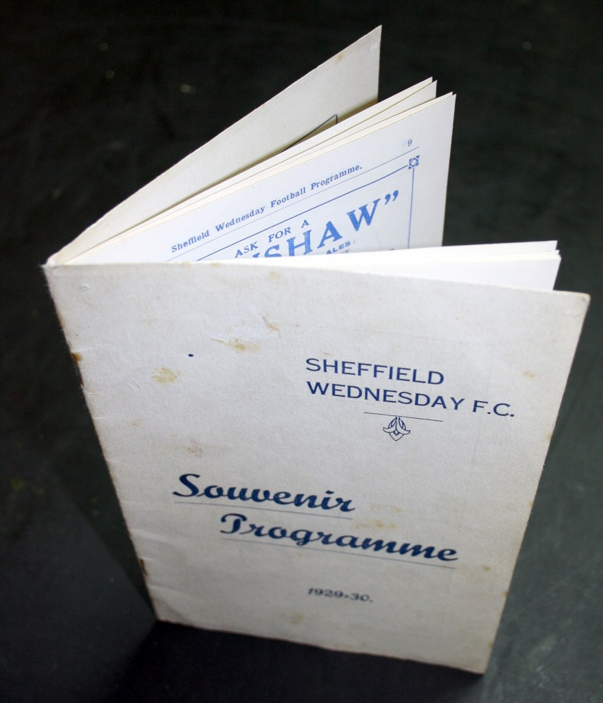 Sheffield Wednesday v Arsenal September 1929 Programme