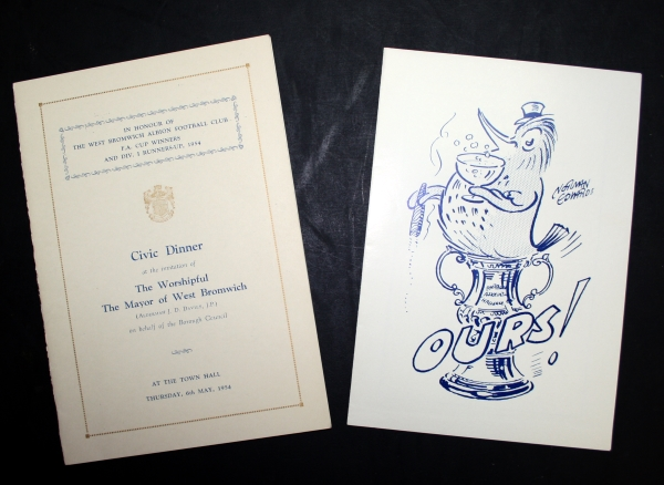 1954 West Brom FA Cup Winners Dinner Menu