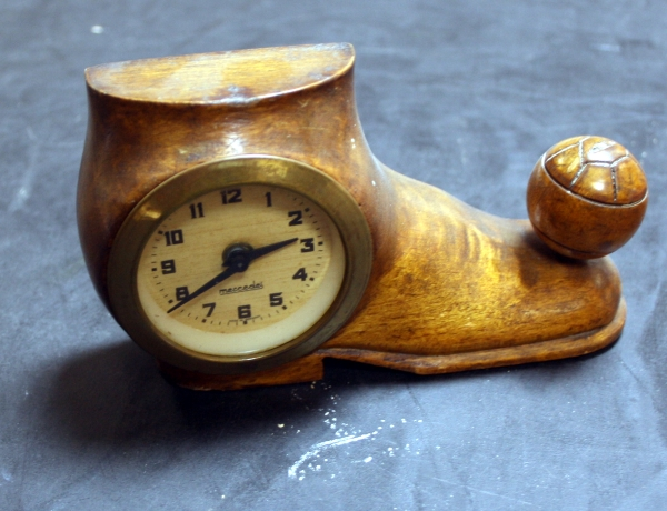 Carved Wooden Football Boot Clock Circa 1930