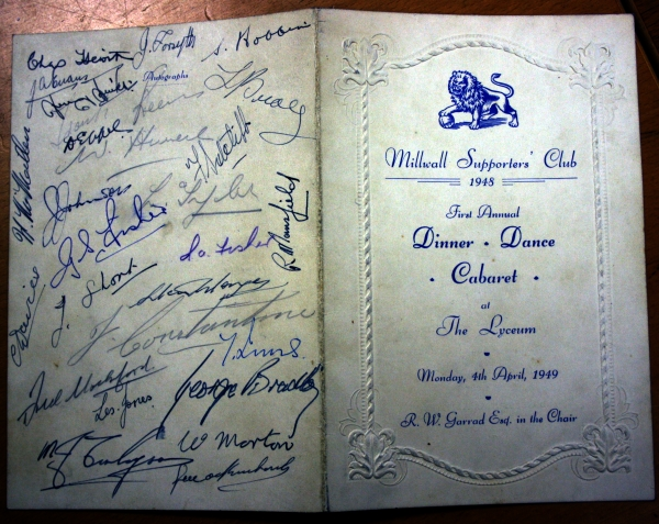 1948 Millwall Supporters Club Dinner Dance Menu - Signed